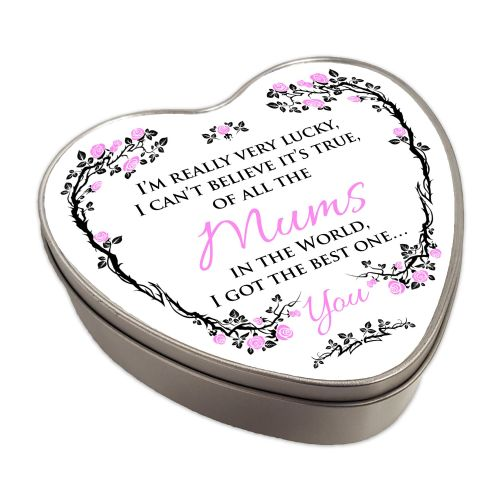 Of All The... In The World I Got The Best One... You Heart Shaped Metal Keepsake Tin